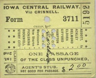 Central Railway railroad passenger train ticket Mason City boro