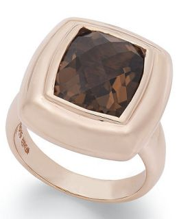 18k Rose Gold Over Sterling Silver Ring, Smokey Topaz Cushion Cut Ring