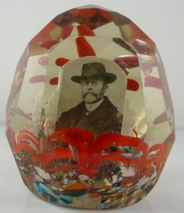 Vintage Czech Glass Paperweight Tomas Masaryk 1st President of
