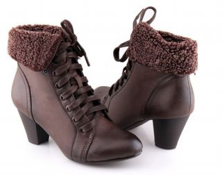 Fur Lace Up Block Heels Ankle Boots Bootie Shoe Free SHIP 4032
