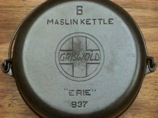 Griswold 6 Slant  Erie  Cast Iron Maslin Kettle LQQK 937 EXC