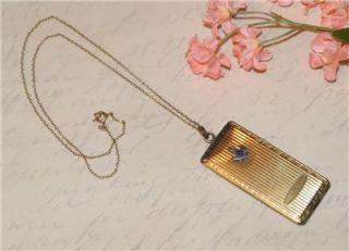 Antique 12K Gold F Masonic Enamel Locket Card Case Necklace Victorian