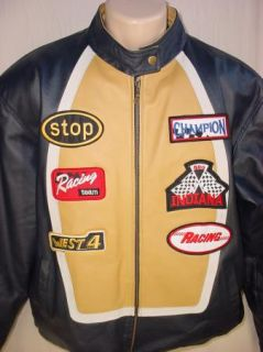 Vilanto Mens Motorcycle Leather Jacket App New Indy 500 Champion Size