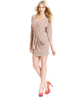 BCBGeneration Dress, Short Sleeve High Neck Printed   Womens Dresses