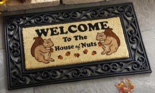 Nuthouse Squirrel Outdoor Porch Entryway Door Mat Coir 30x18 NEW B3717