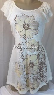 New Womens Maternity Clothes White Yellow Flower Print Shirt Top