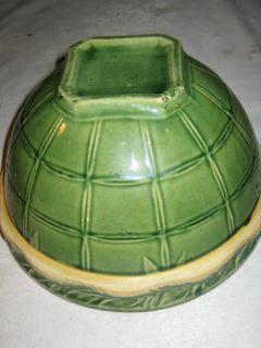 Antique McCoy Country Kitchen Stoneware Matt Green Mixing Bowl Art