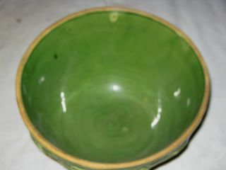 Antique McCoy Country Kitchen Stoneware Matt Green Mixing Bowl Art