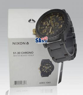 Nixon 51 30 Chrono A0831041 Matte Black Gold Men Watch