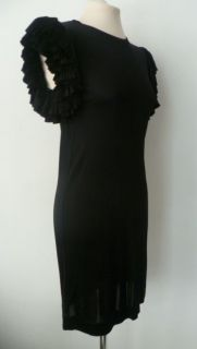 Matthew Williamson Black Large Pleated Ruffle Sleeve Jersey Dress UK 8