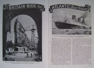 Queen Mary Ocean Liner 1935 Construction Pictorial Scotland Atlantic