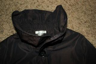 Matty M Ruffle Collar Long Rain Trench Black Coat Womens Size XS New