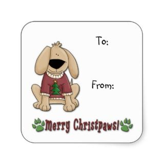 Sticker   Christmas Dog Pooch Gift Tags