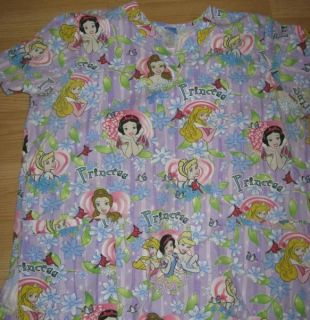 Disney Princess Cinderella Scrub Top XL Snow White