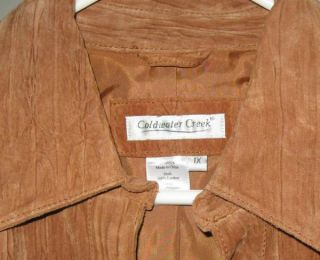 Coldwater Creek Brown Suede Leather Jacket 1x Textured Caramel