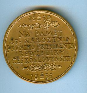 1935 Tomas G Masaryk Czechoslovakia Medal O Spaniel