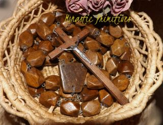 Antique Monks Rosary Handmade Wood Deluxe Catholic (INCREDIBLE FIND