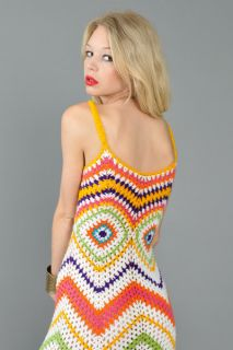 RAINBOW STRIPE scalloped CROCHET hippie boho gypsy festival MAXI DRESS