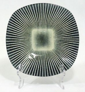 Maurice Heaton Art Glass Dish Bowl Charger Signed Mid Century Green