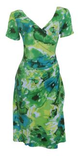 Vivid Green Flutter Sleeve Faux Wrap Dress Sarah Size 16 New