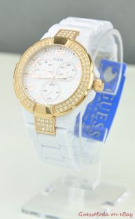 New Guess Ladies Watch White Polycarbonate U13608L1 BNWT USA
