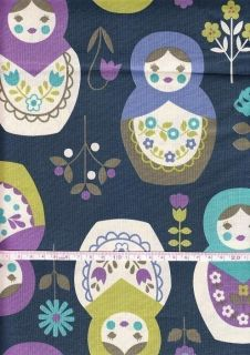 Big Matryoshka Print Navy Japanese Fabric Half Yard
