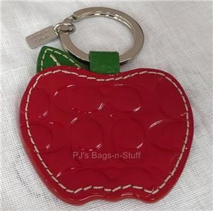 Coach Signature Leather Apple Picture Frame Key Chain Fob Red Patent