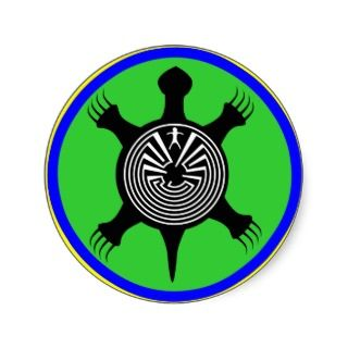 Native American Indian Turtle Rosette Totem Sticker
