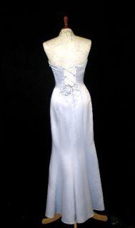 Jessica McClintock Silver Satin Mermaid Dress Gown Size 7