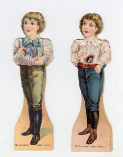 McLaughlins Coffee Advertising Paper Dolls 2 Small Boys Series 1894