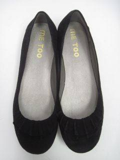 Me Too Black Suede Ballet Flats Shoes Size 6 5