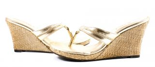 Lilly Pulitzer McKim High Wedge Gold Metallic Sandals Shoes 6 New