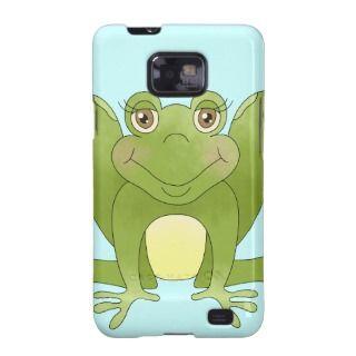 Cute Green Pond Frog Cartoon Amphibian Samsung Galaxy SII Cases