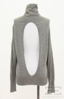 Lily McNeal Grey Cashmere Open Back Turtleneck Sweater Size Medium