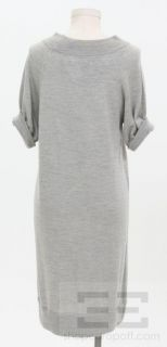 Lily McNeal Grey Extrafine Merino Wool Short Sleeve Dress Size M New