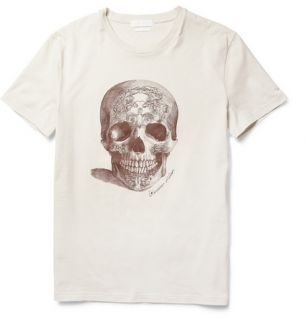 BNWT Mens Authentic Alexander McQueen Cream Skull Print Shirt XS s McQ