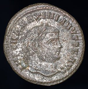 Ancient Roman Silvered Bronze Follis Coin of Emperor Maximian