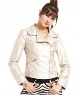 Pink Envelope Juniors Jacket, Faux Leather   Womens Jackets & Blazers