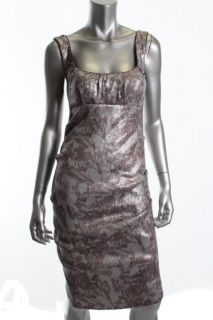 Nicole Miller New Silver Sequined Tucked Empire Lined Cocktail Evening