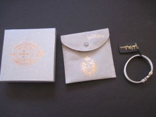 New John Medeiros Two Toned Silver Gold Pave Bangle Bracelet in Pouch