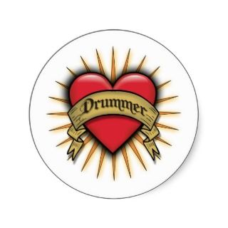 Tattoo Heart Drummer Sticker
