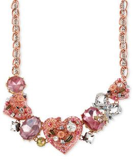 Betsey Johnson Necklace, Multi Tone Crystal Heart Frontal Necklace
