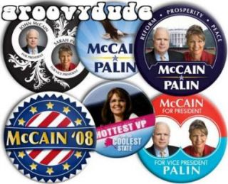 John McCain Sarah Palin 2008 Pins Buttons Pinbacks Badges Collection