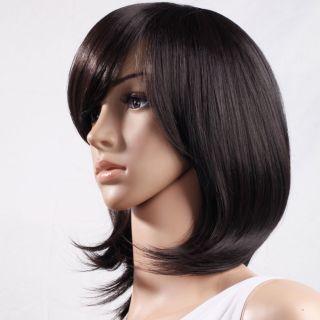 New Fashion Medium Turnup Side Bang Party 16 5 Wig Cosplay Hair Black