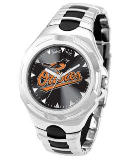 Game Time Watch, Mens Baltimore Orioles Black Rubber and Stainless