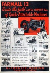 1936 McCormick Deering Farmall 12 Tractor Original Color Ad