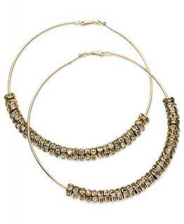 GUESS Earrings, Gold Tone Glass Crystal Disc Clutchless Hoop Earrings