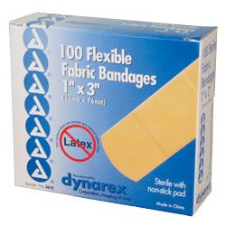 Dynarex Fabric Band Aids 1inx3in Box 100