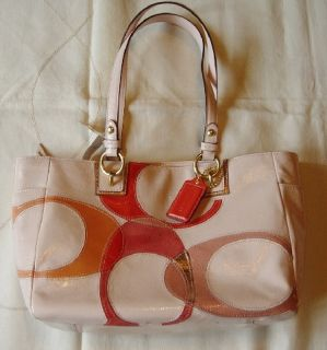 nwt melone pink patent leather coach inlaid signature bag 100 %