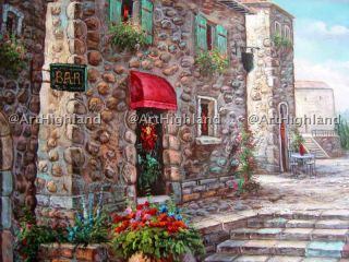 Original Oil Paintings Canvas Mediterranean Stone House